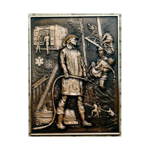Bronze fireman_Bas_relief_plaque